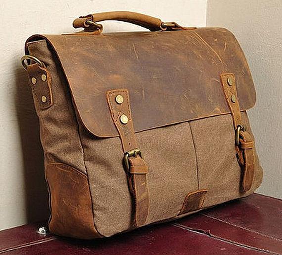 Портфель сумка из кожи и ткани Canvas 396