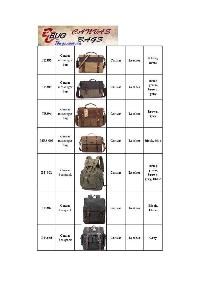"""мужские сумки из парусины и кожи в магазине сумок """"Семь Сумок"""""""