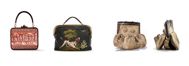 Музейные экспонаты кожаных сумок 18 века в Амстердаме