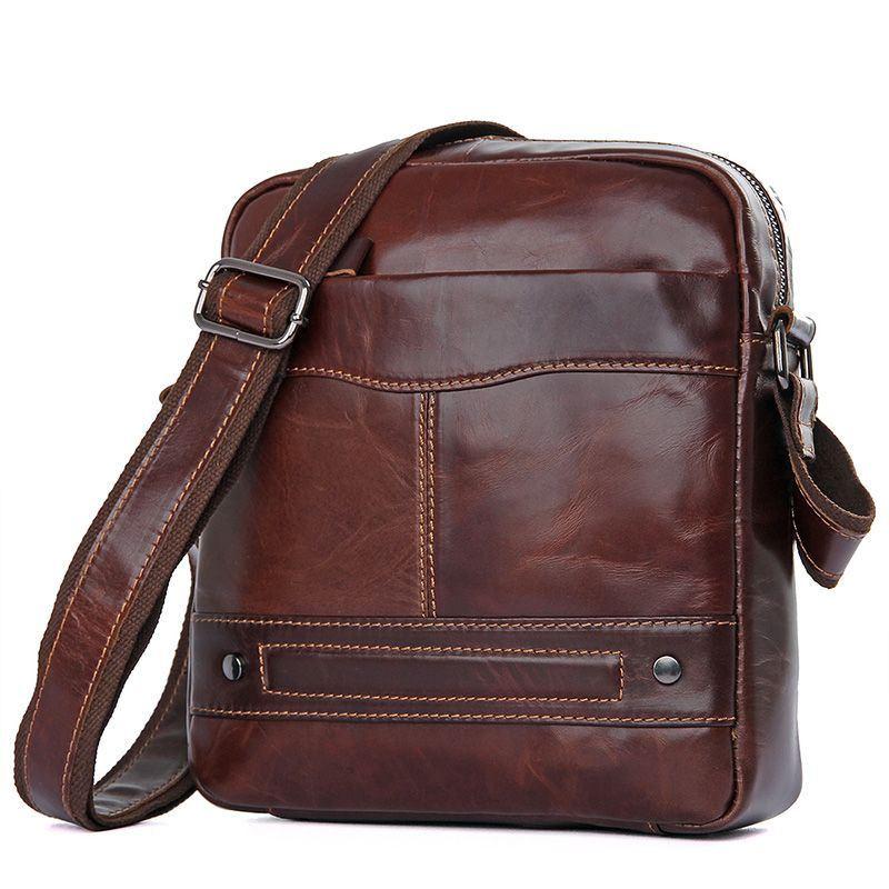 7dea18593c59 Мужская кожаная сумка мессенджер JD1022C John McDee, темно-коричневого цвета