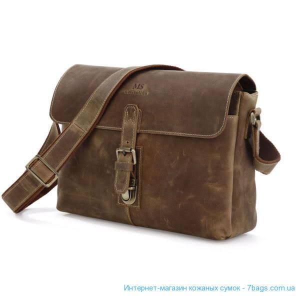 3c709fd356a9 Кожаная сумка крос-боди, мессенджер лошадиная кожа, серо-коричневая ...