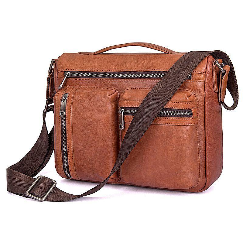 693f6a78b454 Кожаная сумка-планешт мессенджер 1019BA John McDee светло-коричневая