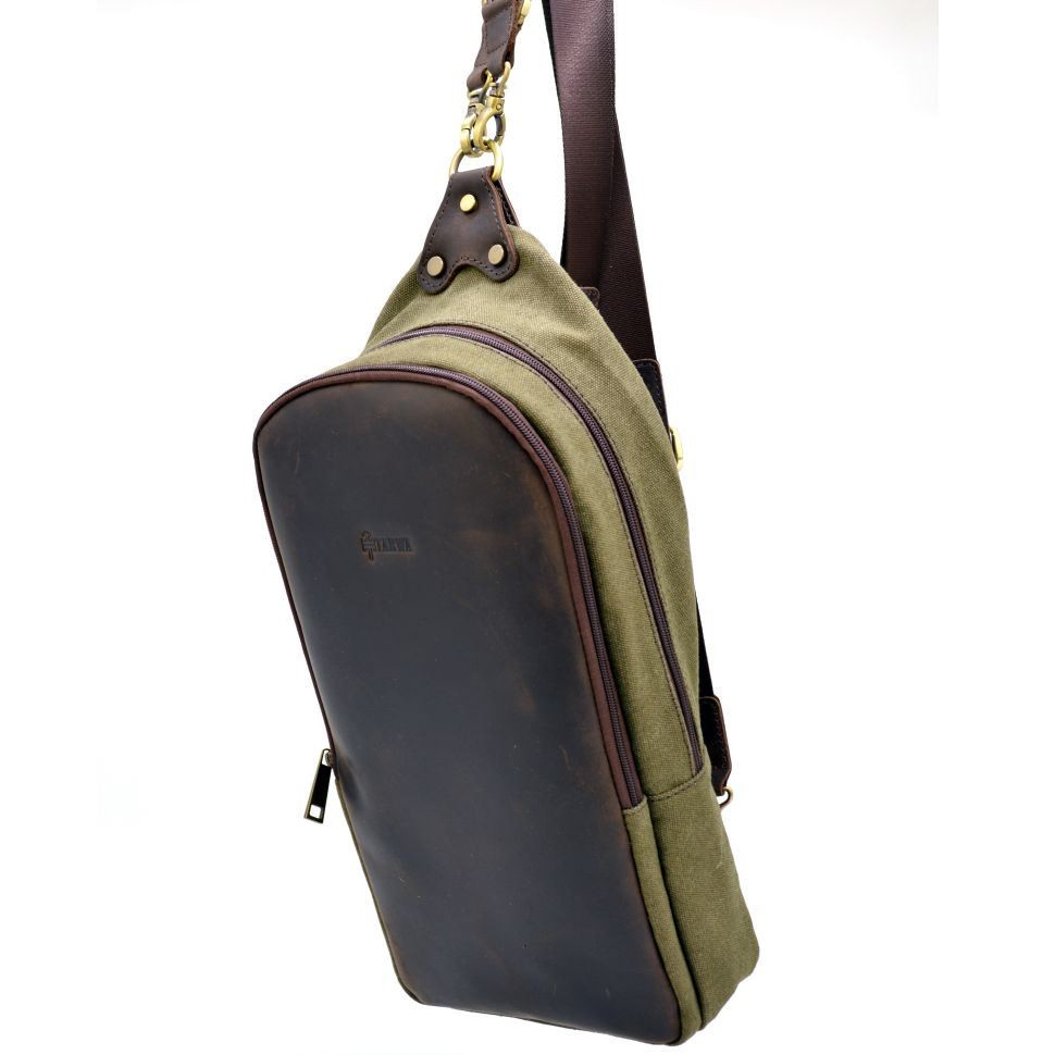 c8dc01ee2963 Слинг-рюкзак из канвас и лошадиной кожи RH-2017-4lx TARWA ✓RH-2017 ...