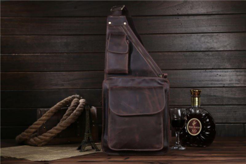 321b1abcccc1 Фирменная кожаная сумка кросс-боди, рюкзак на одно плечо, цвет коричневый,  Bexhill bx1089