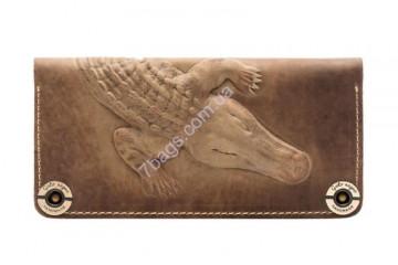 Кошелек handmade унисекс Gato Negro GN152 в цвете Alligator Khaki