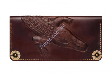 Кошелек handmade унисекс Gato Negro GN217 в цвете Alligator Brown