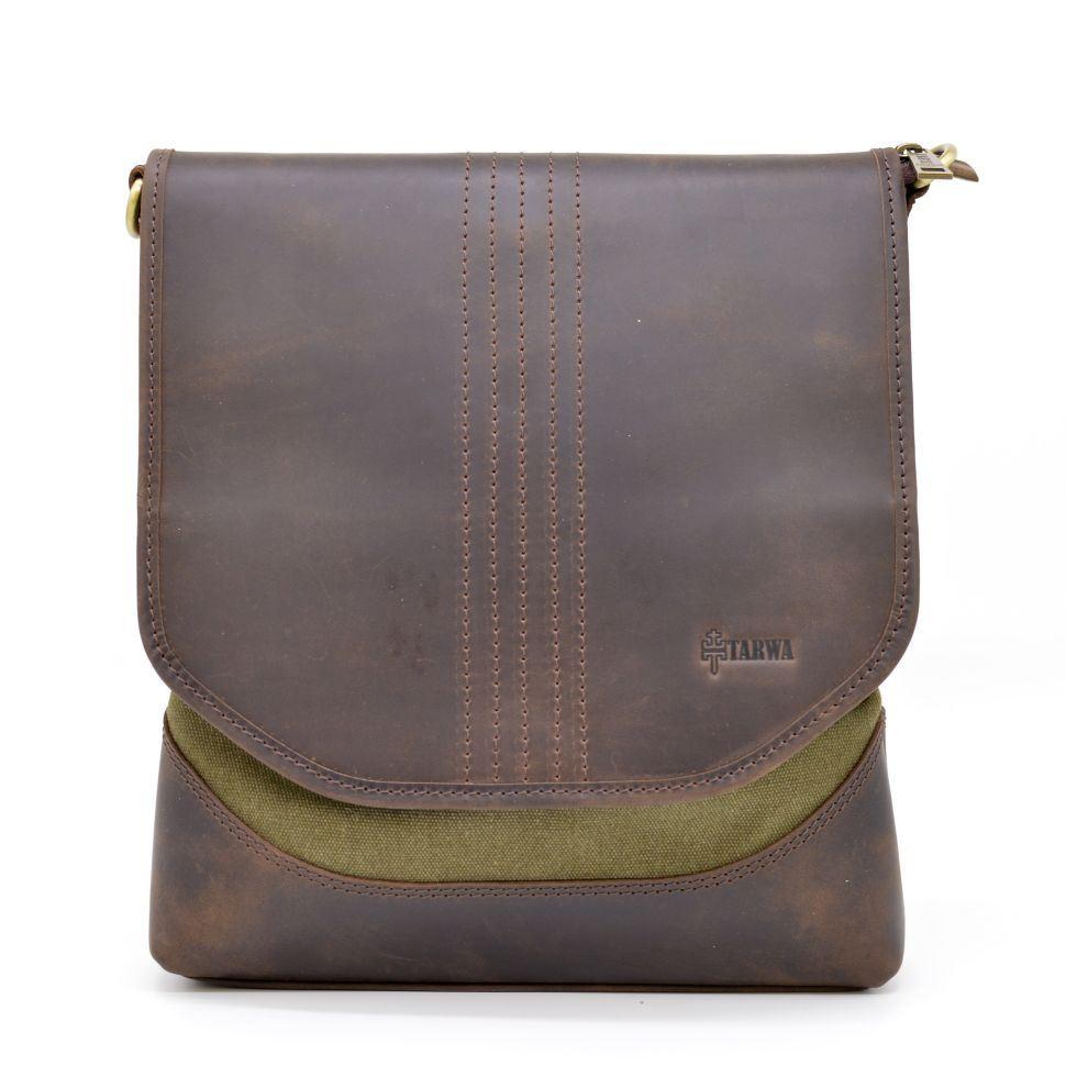 c6646b9ebfb8 Мужская сумка через плечо кожа + парусина RH-18072-4lx бренда TARWA ...