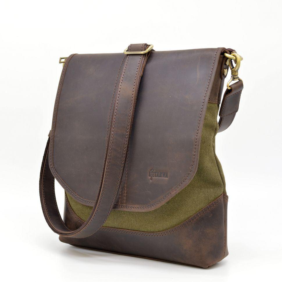 1d630a327bde Мужская сумка через плечо из кожи и канвас RH-18072-4lx TARWA ✓RH ...