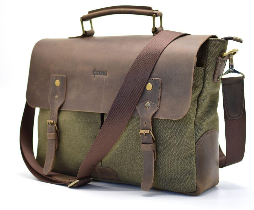 c383d3b02276 Мужская сумка-портфель кожа+парусина RH-3960-4lx от украинского бренда TARWA
