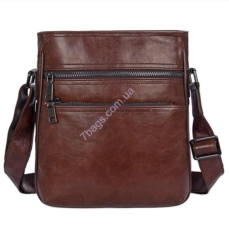 5319a1a8b20e Мужская кожаная сумка через плечо, коричневый цвет John McDee JD1025B
