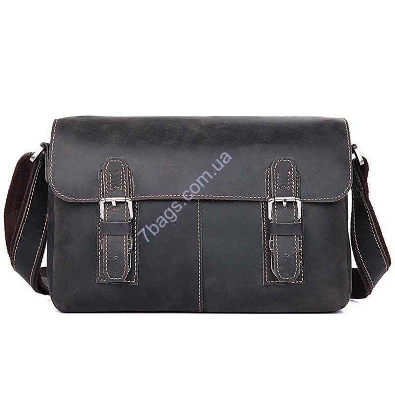 deeadd938268 Качественная кожаная сумка через плечо, цвет темно-коричневый, John McDee  6002J