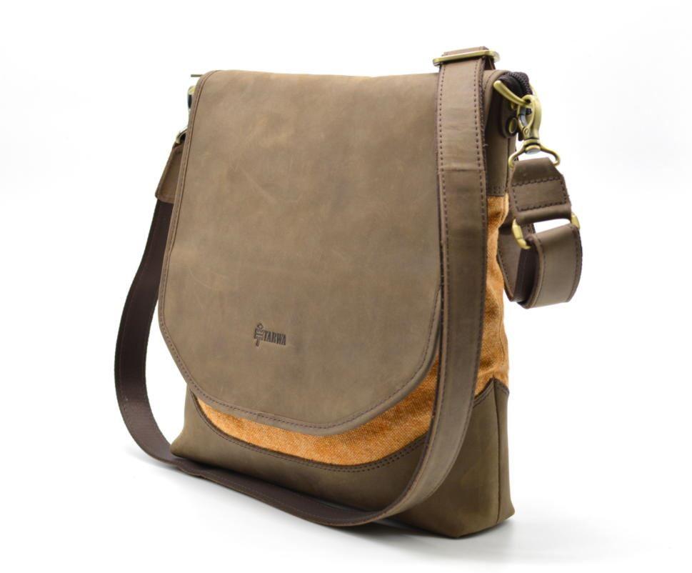 d9702aa00b5c Мужская сумка через плечо кожа+парусина RY-18072-4lx бренда TARWA ...