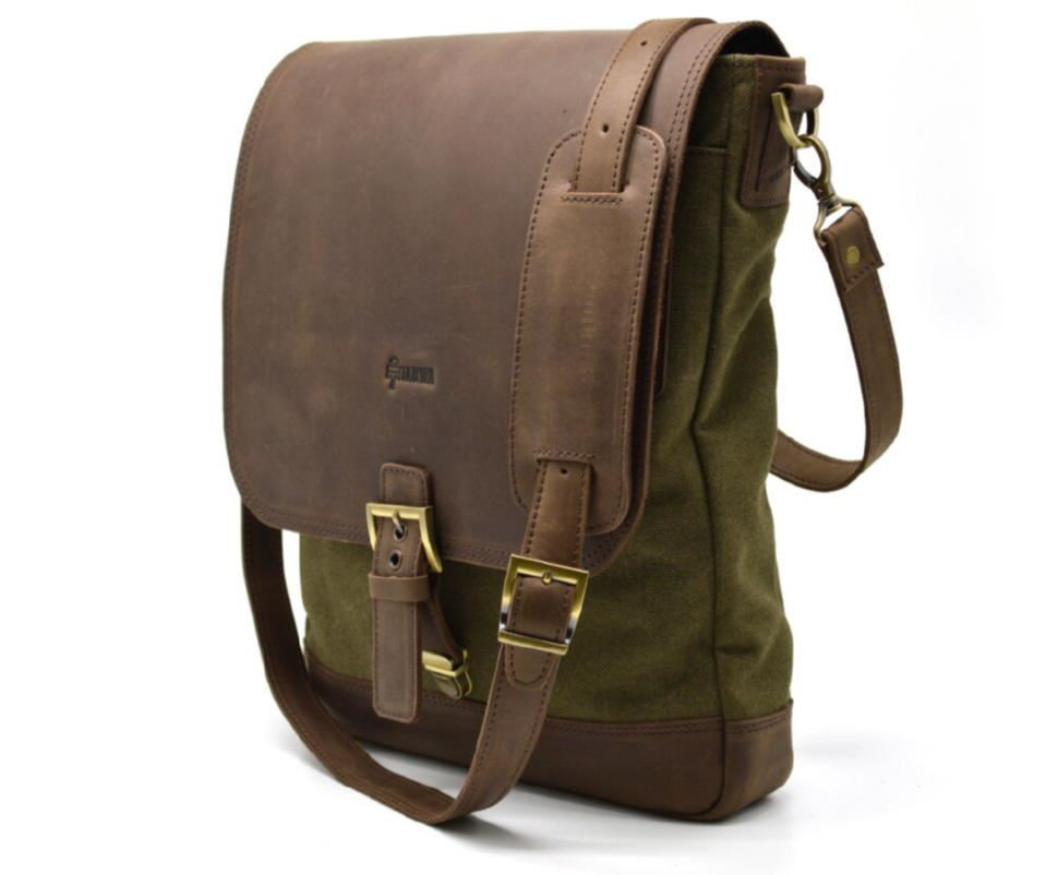 4b8de6ffe933 Мужская сумка через плечо, комбинация кожи и парусины