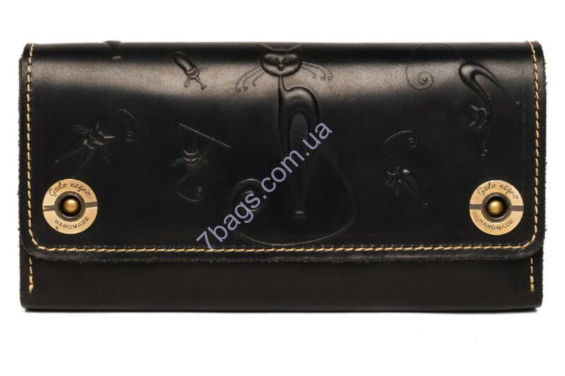 243f9e5a7d87 Кошелек-клатч женский кожаный Gato Negro GN271 в цвете Alfa Big Catswill  Black