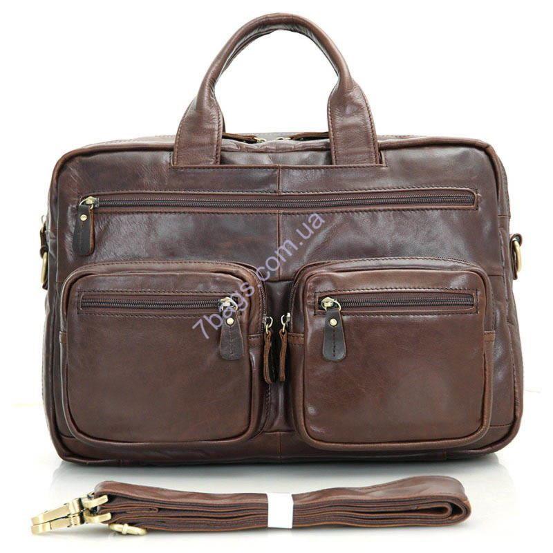 7779573b0b41 Многофункциональная коричневая кожаная мужская сумка John McDee ...